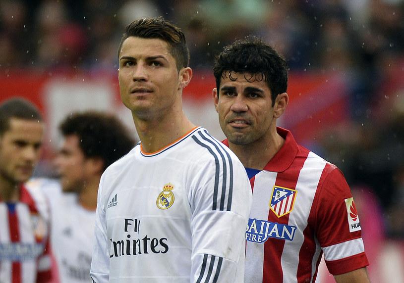 Największe gwiazdy madryckich gigantów - Cristiano Ronaldo (z lewej) i Diego Costa (Atletico) /AFP