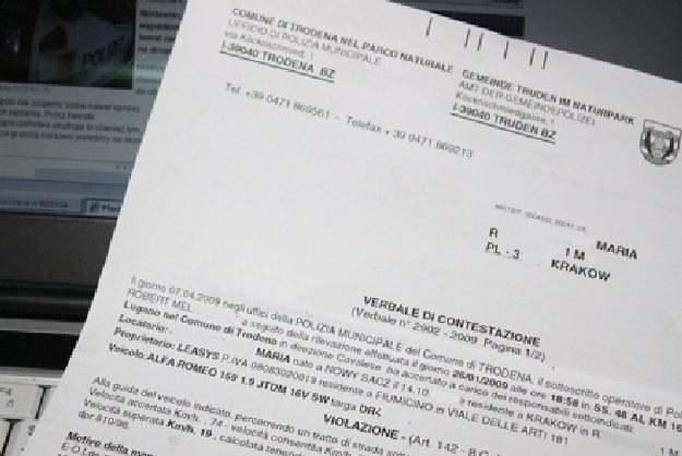 Nakaz zapłaty mandatu przysłany z Włoch /INTERIA.PL