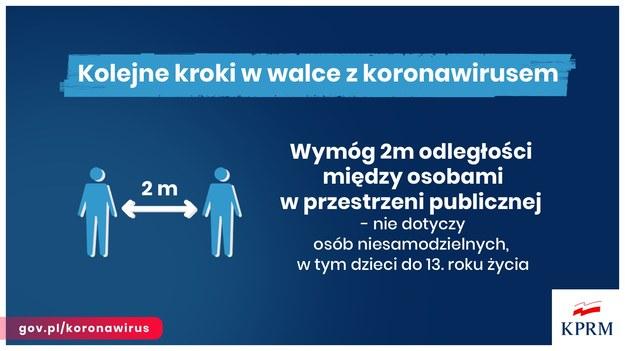 Należy zachować przynajmniej 2 metry odległości od siebie /KPRM /