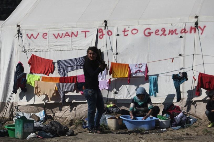"""Napis """"Chcemy jechać do Niemiec"""" na namiocie w obozie dla migrantów w Idomeni /AFP"""