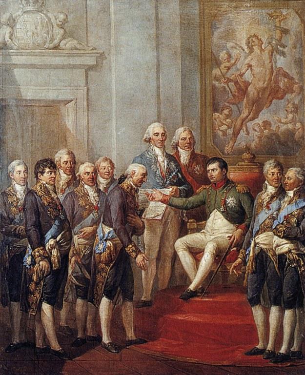 Napoleon nadaje konstytucję Księstwu Warszawskiemu 22 VII 1807 roku. Obraz Marcella Bacciarellego /reprodukcja: Piotr Mecik /Agencja FORUM