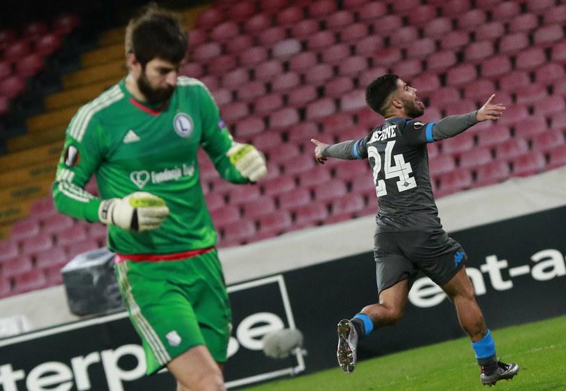 Napoli - Legia. Radość Lorenzo Insigne po strzeleniu gola Legii w 2015 roku /CARLO HERMANN /East News