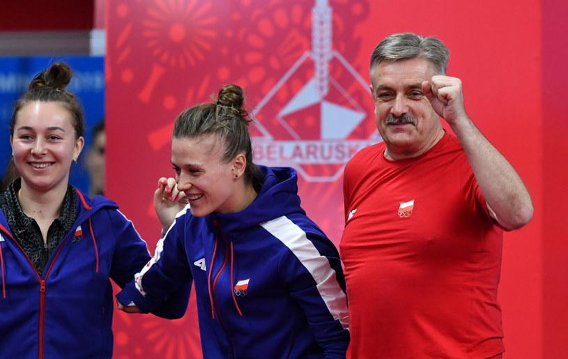 Natalia Bajor, Natlia Partyka i trener Zbigniew Nęcek /Piotr Nowak /PAP