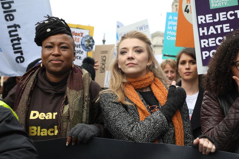 Natalie Dormer na zgromadzeniu #March4Women2020 /Lia Toby /Getty Images
