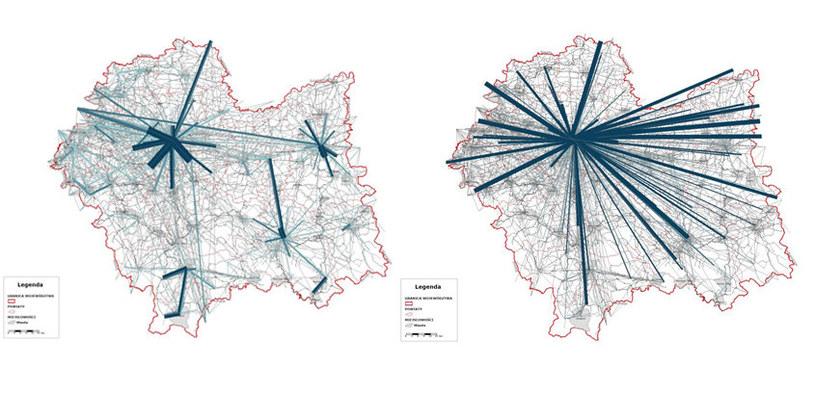 Natężenie ruchu: stan istniejęcy (ilustracja po lewo) oraz prognozowany podczas wydarzeń ŚDM /źródło: ŚDM /