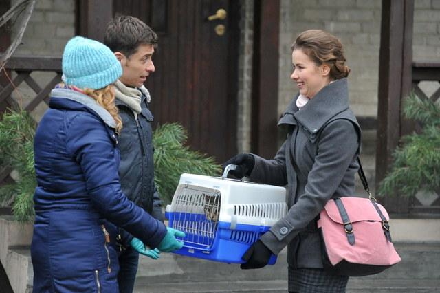 Nauczycielka Mateusza i antka odda Mostowiakom kota, którego podarowali jej chłopcy. /Agencja W. Impact