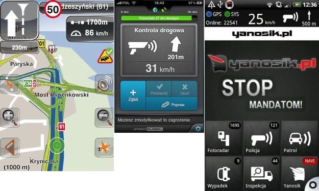 NaviExpert, SpeedAlarm i Yanosik /