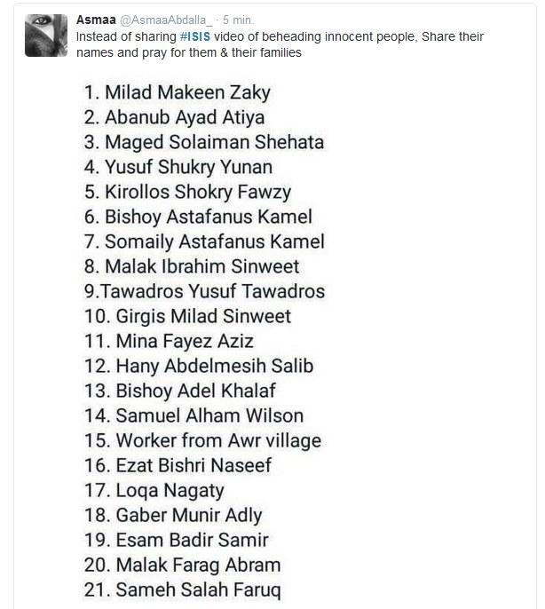 Nazwiska Koptów, którzy zostali zamordowani na plaży w Trypolisie /Twitter