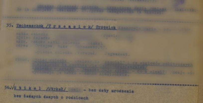 Nazwiska modyfikowano lub zupełnie zmieniano (na zdjęciu fragment drugiej listy opiekuńczej dzieci polskich) /Ze zbioru Archiwum Akt Nowych /INTERIA.PL