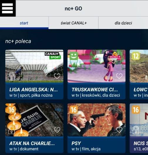 NC+ GO - zrzut ekranu prezentujący fragment strony głównej serwisu /INTERIA.PL