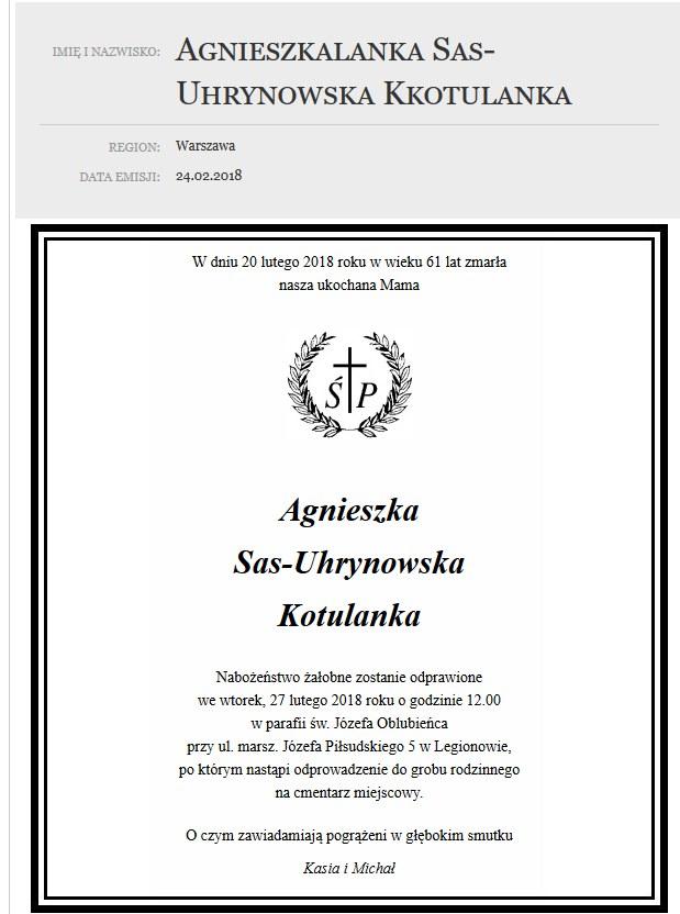 Nekrolog Agnieszki Kotulanki /materiały prasowe