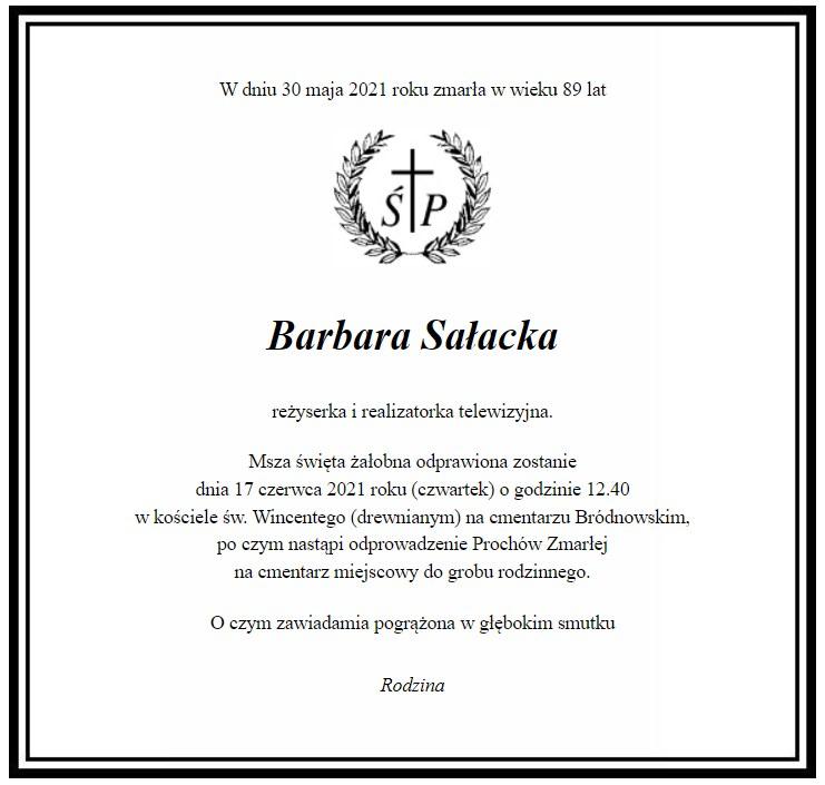 Nekrolog Barbary Sałackiej /materiały prasowe