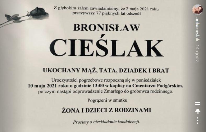 Nekrolog Bronisława Cieślaka na swym Instagramie udostępniła Anna Cieślak, bratanica aktora /materiały prasowe