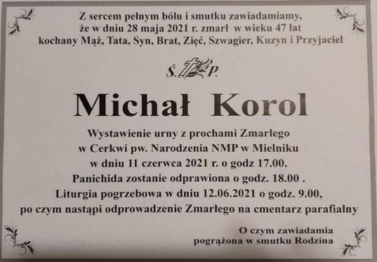 Nekrolog informujący o śmierci Michała Korola /AIM