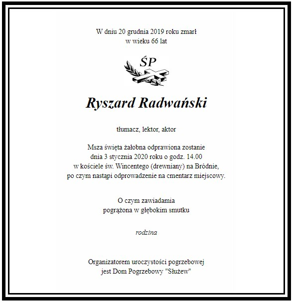 Nekrolog Ryszarda Radwańskiego (screen ze strony wyborcza.pl) /materiały prasowe