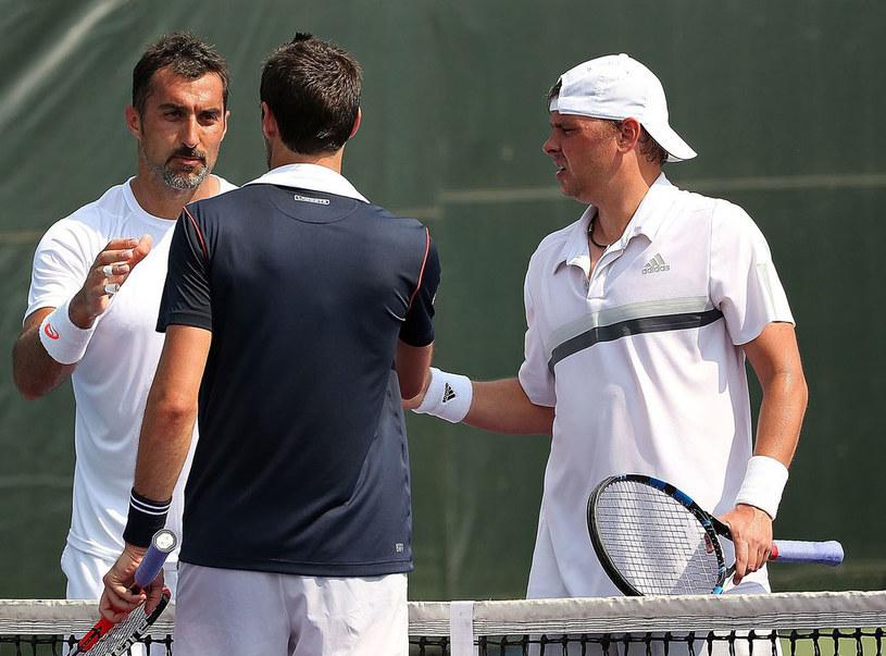 Nenad Zimonjic (z lewej) i Marcin Matkowski (z prawej) /AFP