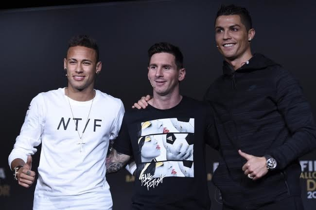 Neymar, Lionel Messi i Cristiano Ronaldo /PAP/EPA