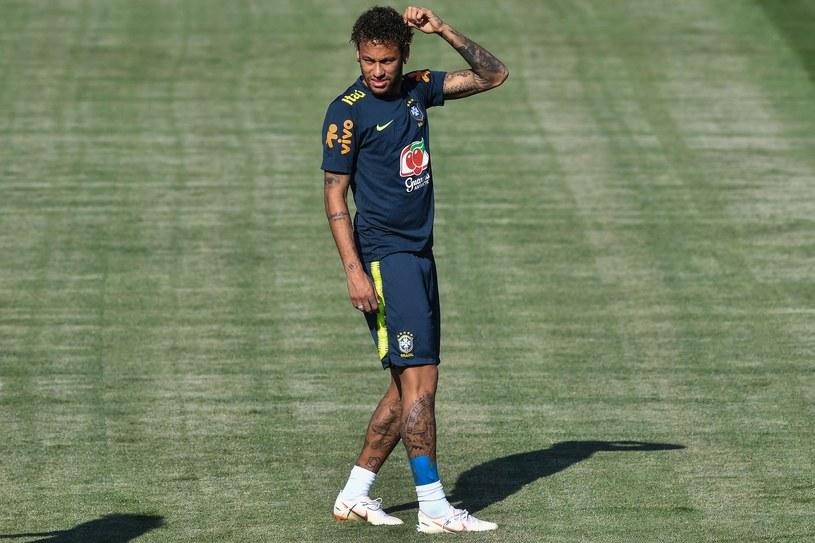 Neymar na treningu Brazylii /AFP