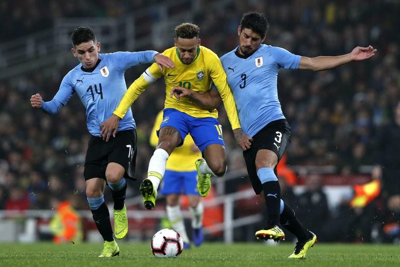 Neymar podczas meczu Brazylii z Urugwajem /AFP