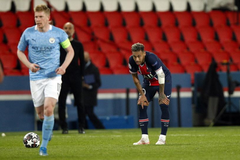 Neymar w meczu z Manchesterem City /YOAN VALAT  /PAP/EPA