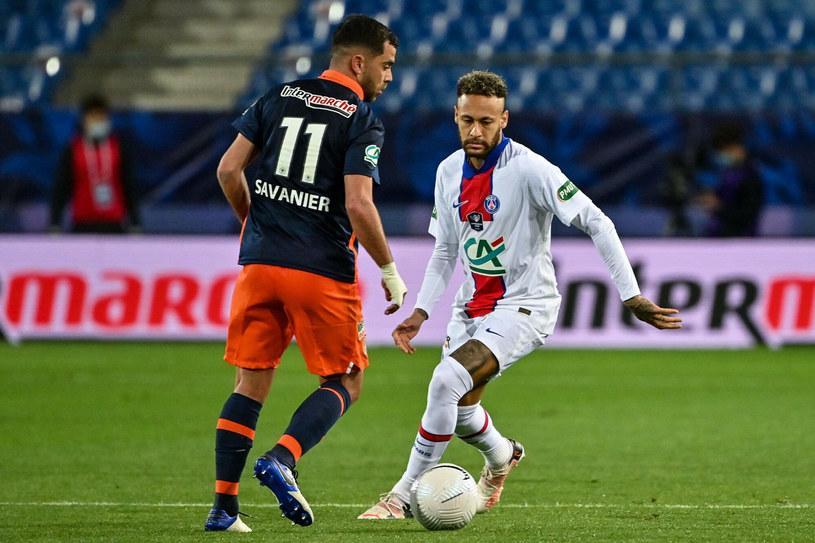 Neymar  w trakcie meczu w półfinale Pucharu Francji przeciw Montpellier /PASCAL GUYOT/AFP/East News /East News