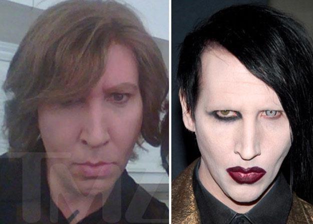 """Nie do poznania? Z lewej """"prawdziwy"""" wygląd Marilyn Mansona - fot. TMZ.com /"""