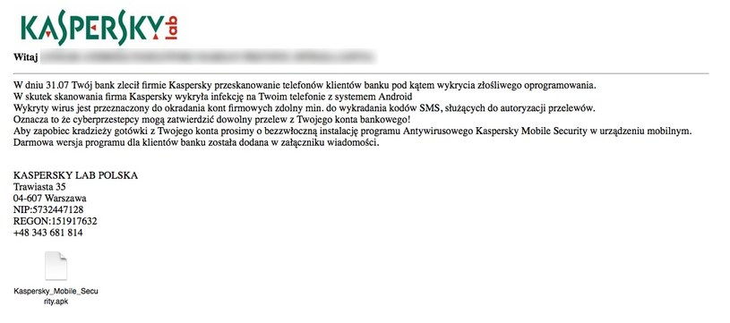 Niebezpieczny e-maili podszywający się pod Kaspersky Lab Polska. /materiały prasowe