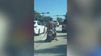 Niecodzienny pasażer na skuterze. Kto to?
