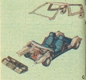 Niecodzienny sposób montażu: najpierw zespoły podwoziowe łączy się z płytą podłogową, później zaś osadza na niej zmontowane wstępnie wyposażenie wnętrza i wreszcie szkielet dachu. Ostatnią czynnością jest zamocowanie poszycia zewnętrznego. /Volvo