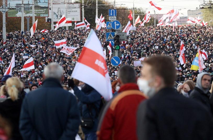Niedzielna manifestacja w Mińsku / STR   /PAP/EPA