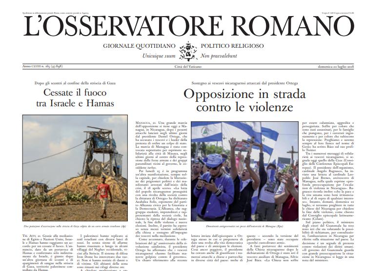 """Niedzielne wydanie """"L'Osservatore Romano"""" /"""