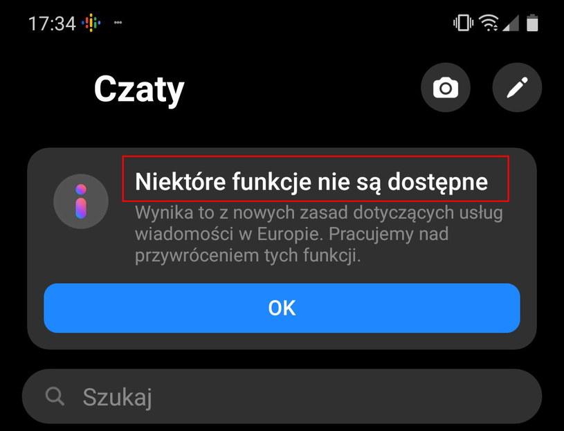 """""""Niektóre funkcje nie są dostępne"""" - co oznacza ten komunikat w Messengerze? /INTERIA.PL"""