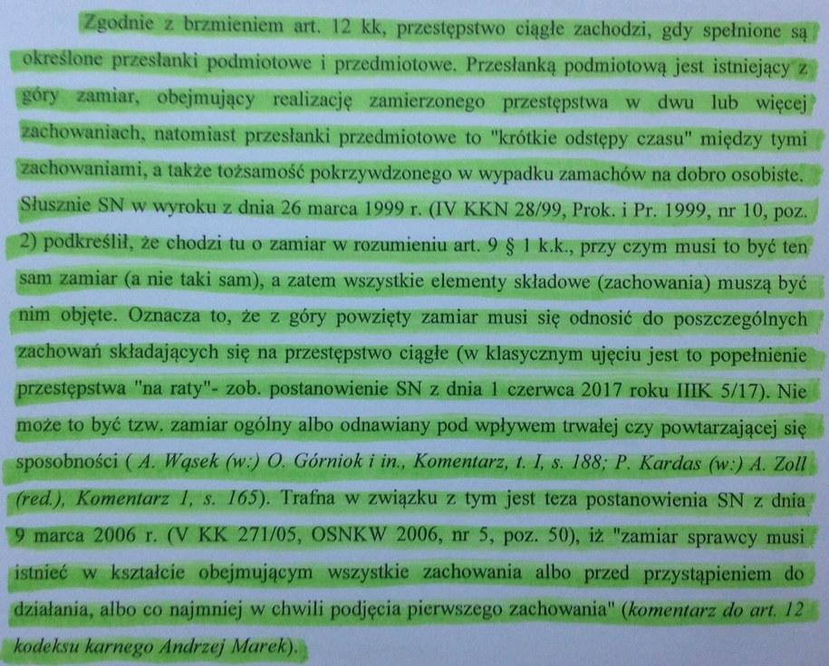 Niemal cała strona 39 wniosku prokuratury to przepisany w słowo w słowo fragment komentarza prof. Marka. Jego nazwisko wymieniono po zacytowaniu z cudzysłowem ostatniego zdania sprawiając wrażenie, że tylko ono pochodzi od prof. Marka. /Tomasz Skory  /RMF FM