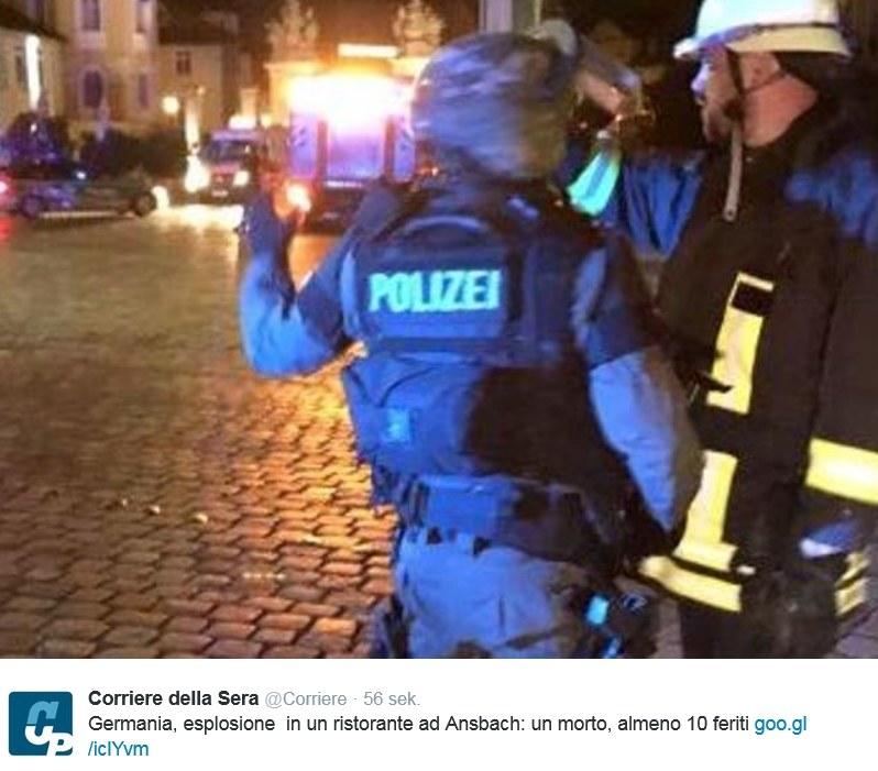 Niemcy: Wybuch w restauracji w Ansbach /Twitter