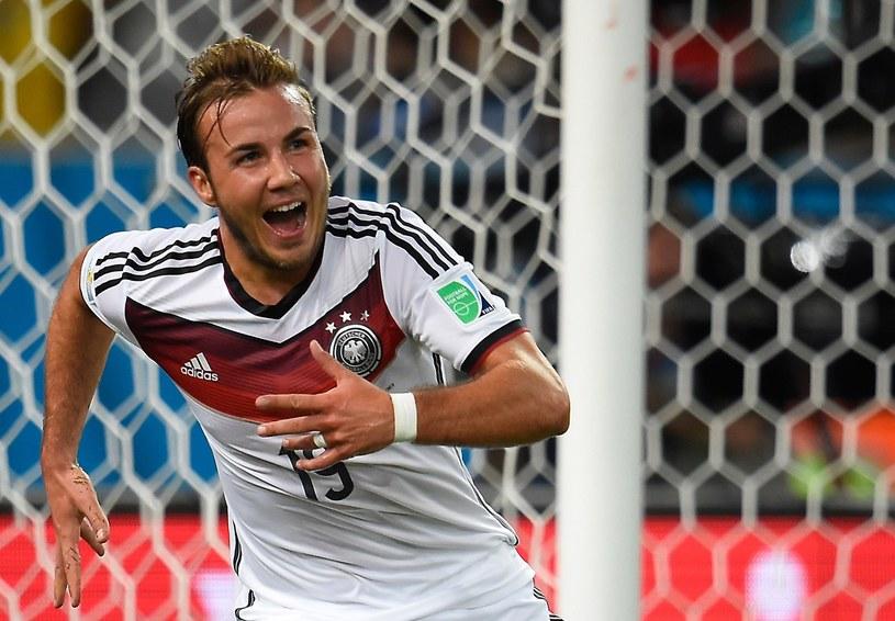 Niemiec Mario Goetze cieszy się z gola w finale mundialu w Brazylii /AFP