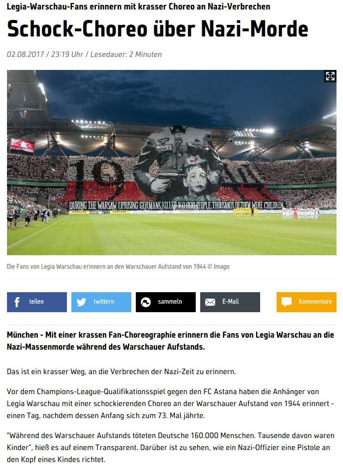 """Niemiecki """"Sport1.de"""" nie zapomniał o fanach Legii /print screen /"""