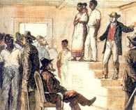 Niewolnictwo, publiczna sprzedaż czarnych niewolników w USA /Encyklopedia Internautica