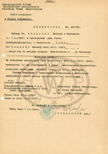 Przepustka wystawiona przez Państwowy Urząd Repatriacyjny na nazwisko Gdanicki, pod którym gen. Fieldorfa aresztowano 8 marca 1945 roku.