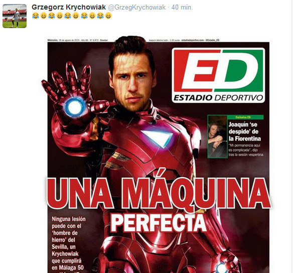 """Niezniszczalny Grzegorz Krychowiak na okładce """"Estadio Deportivo"""" jako Iron Man /INTERIA.PL"""