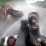 Niezwykłe zachowanie motocyklisty - uratował swoją pasażerkę