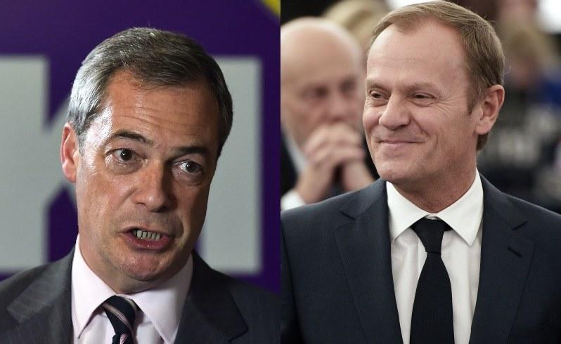 Nigel Farage i Donald Tusk /AFP