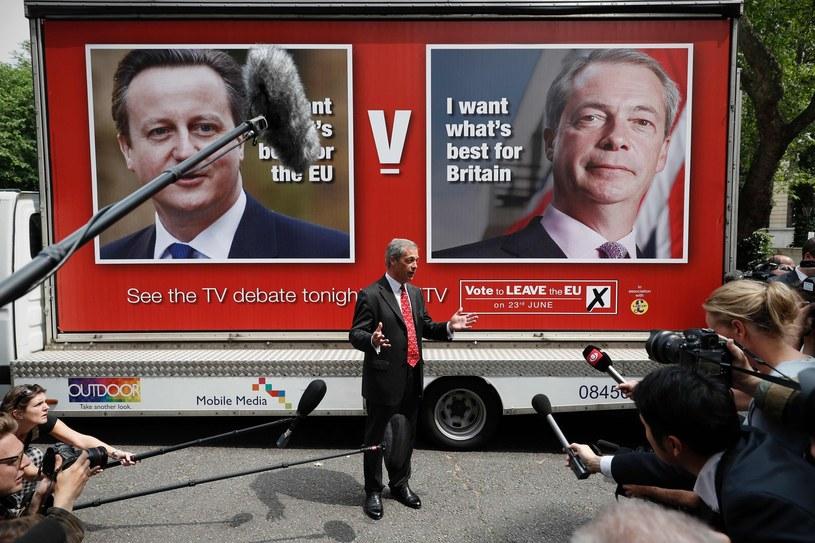 Nigel Farage podczas kampanii na rzecz Brexitu /AFP