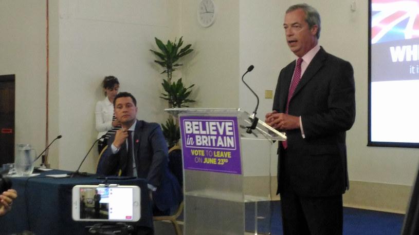 Nigel Farage podczas swojego przemówienia /INTERIA.PL