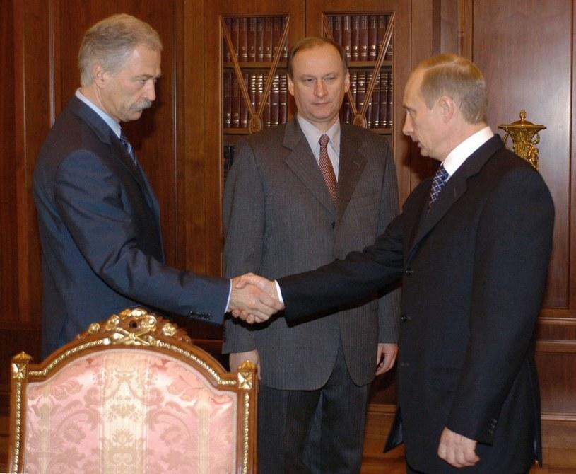 Nikołaj Patruszew w towarzystwie Władimira Putina i Borysa Gryzłowa /POOL ITAR-TASS /East News