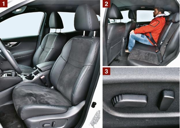 NISSAN [1] Fotele Nissana są równie wygodne co te w Mitsubishi, ale zapewniają lepsze podparcie boczne. [2] Z tyłu Qashqaia jest mnóstwo przestrzeni nad głowami, ale miejsca na kolana jest tylko o 2 cm więcej niż w Mitsubishi. [3] Poza ASX-em z testowanej czwórki tylko Qashqai seryjnie oferuje elektryczne ustawianie foteli. /Motor