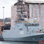 """Niszczyciel min """"Albatros"""" pierwszy raz w morzu"""