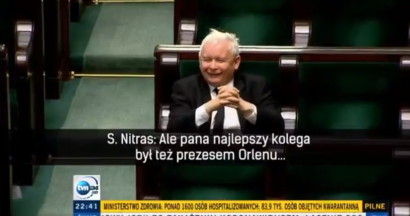 Nitras donosi, Kaczyński się śmieje /TVN24 /