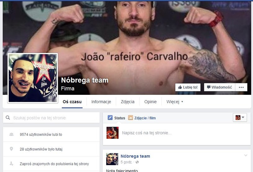 Nóbrega team poinformował o tragicznej śmierci Joao Carvalho; źródło: Facebook /