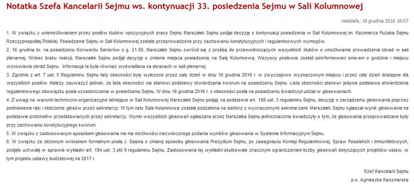 Notatka Szefa Kancelarii Sejmu ws. kontynuacji 33. posiedzenia Sejmu w Sali Kolumnowej /sejm.gov.pl /