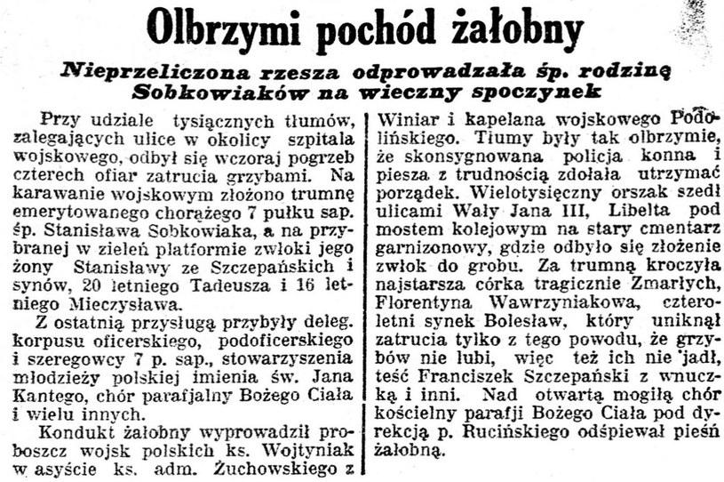 """Notka prasowa z """"Kurjera Poznańskiego"""" opisująca pogrzeb Sobkowiaków /domena publiczna"""